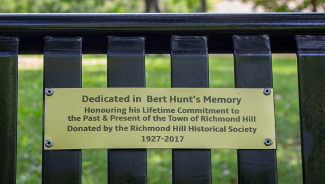 Mill Pond Park - Bert Hunt bench