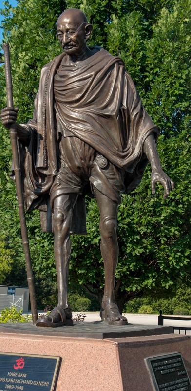 Gandhi Statue at Vishnu Mandir Peace Park