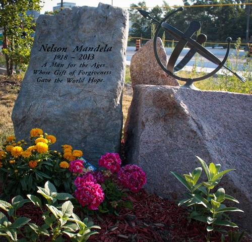 Nelson Mandela monument at Vishnu Mandir Peace Garden