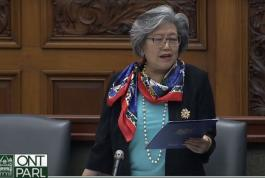 MPP Daisy Wai, speaking in  Ontario parliament